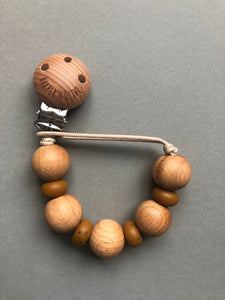 Wood and silicone pacifier clips- Egle collection