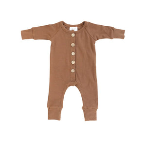 Honey Ribbed Long Sleeve Button Romper