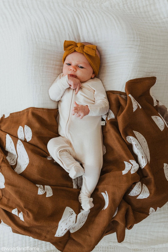 Organic Cotton + Bamboo Muslin Swaddle - Umber