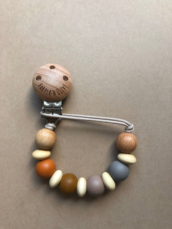 Wood and Silicone Pacifier Clip- Zari