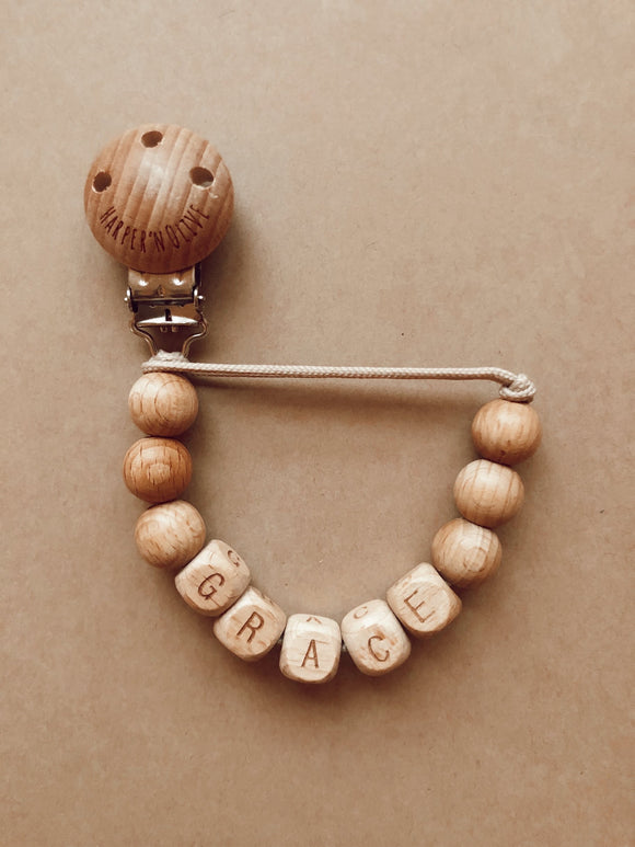 Personalized Wood Pacifier Clip- Grace