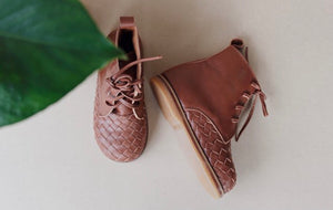 Woven Tanned Leather Boot for Kids (PRE-ORDER)