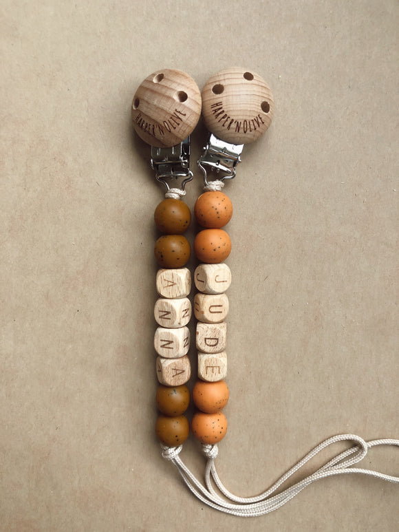 Personalized Pacifier Clip- Wood and Silicone Jude Clip