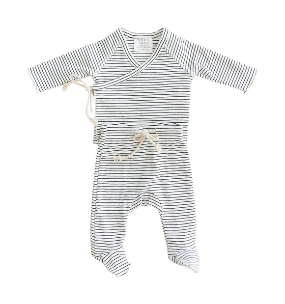 Black + White Striped Ribbed Cotton Layette Set
