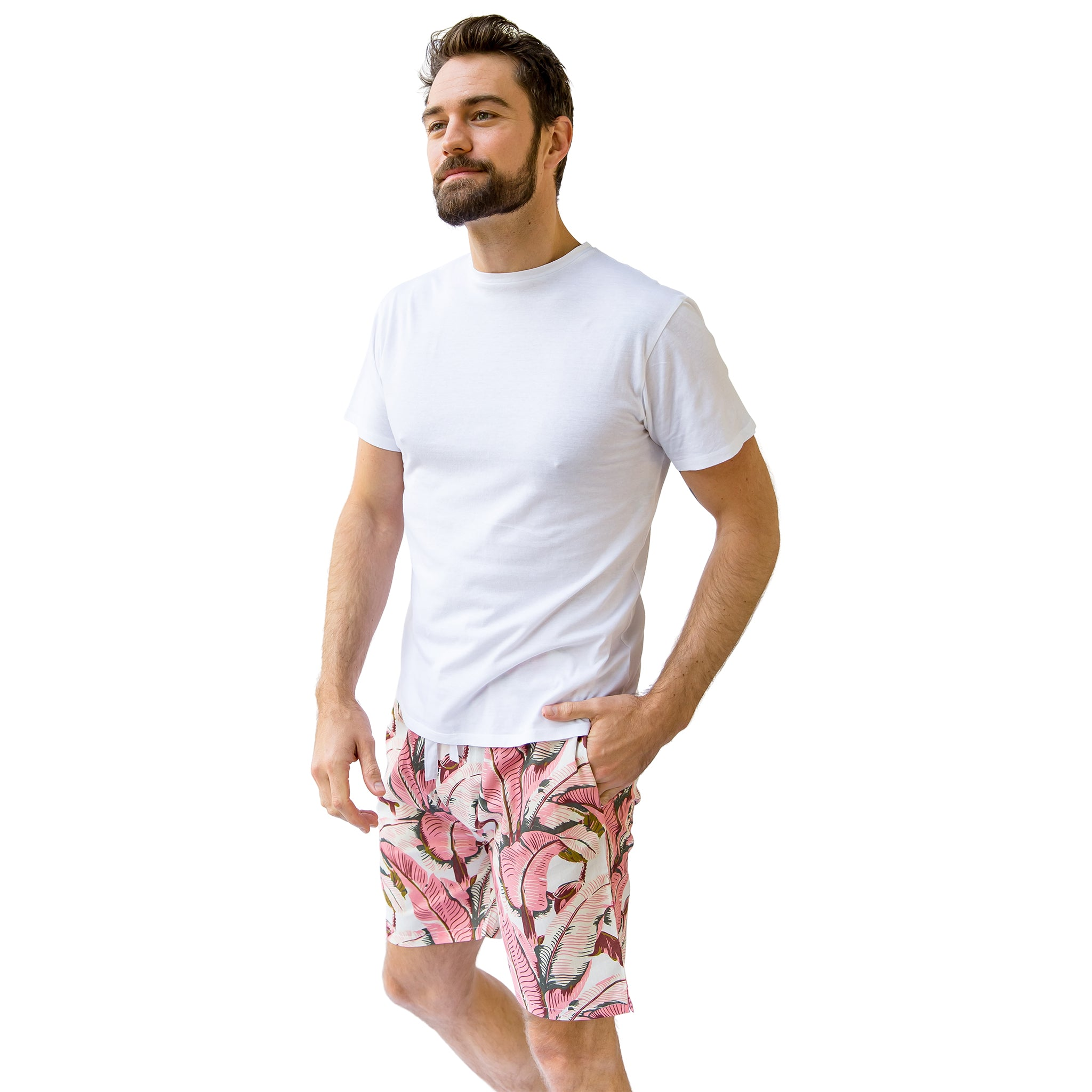 Men's Pink Martinique® Banana Leaf Sleep Shorts