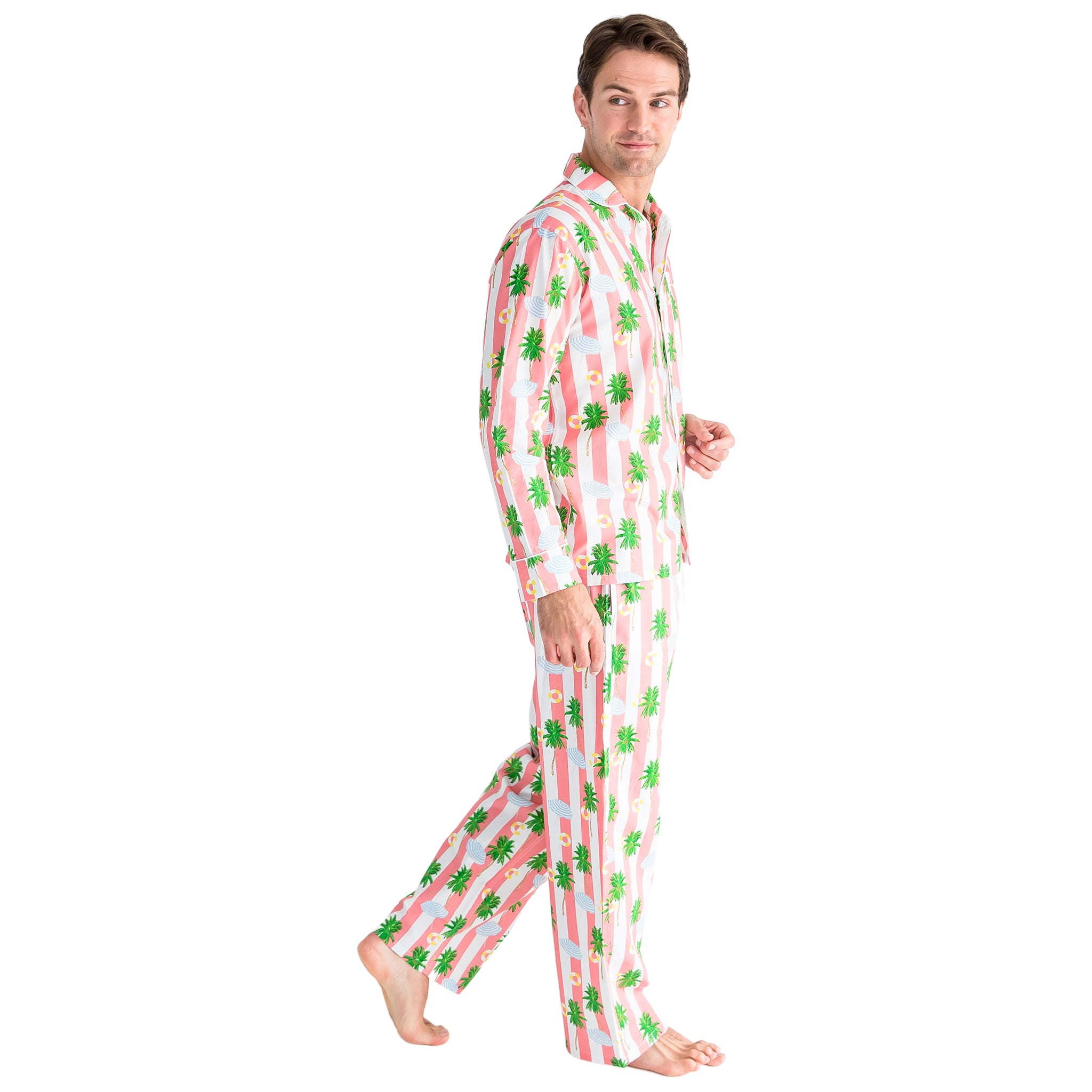 Men's Gray Malin Beach Coral Long PJ Set
