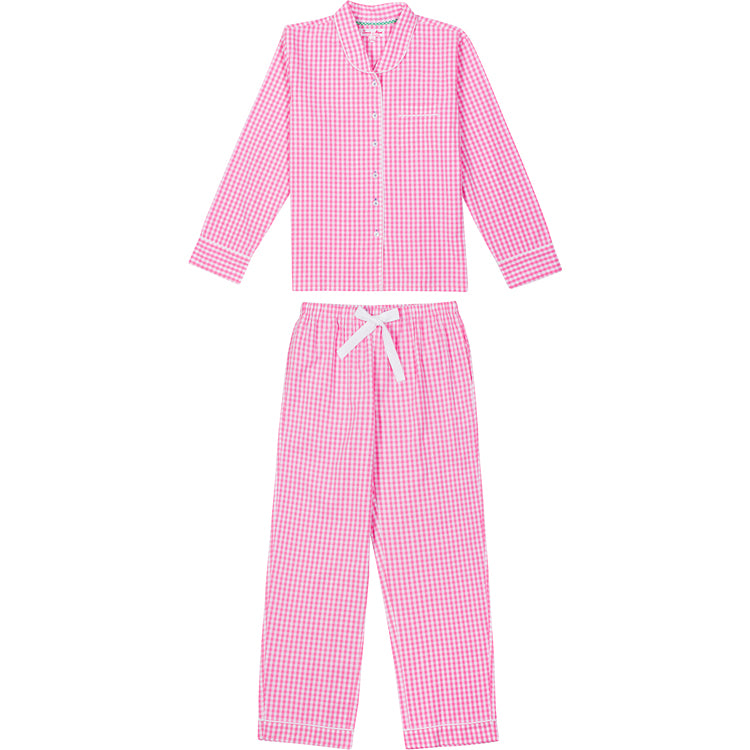Women's Hepburn Gingham Pink Long PJ Set