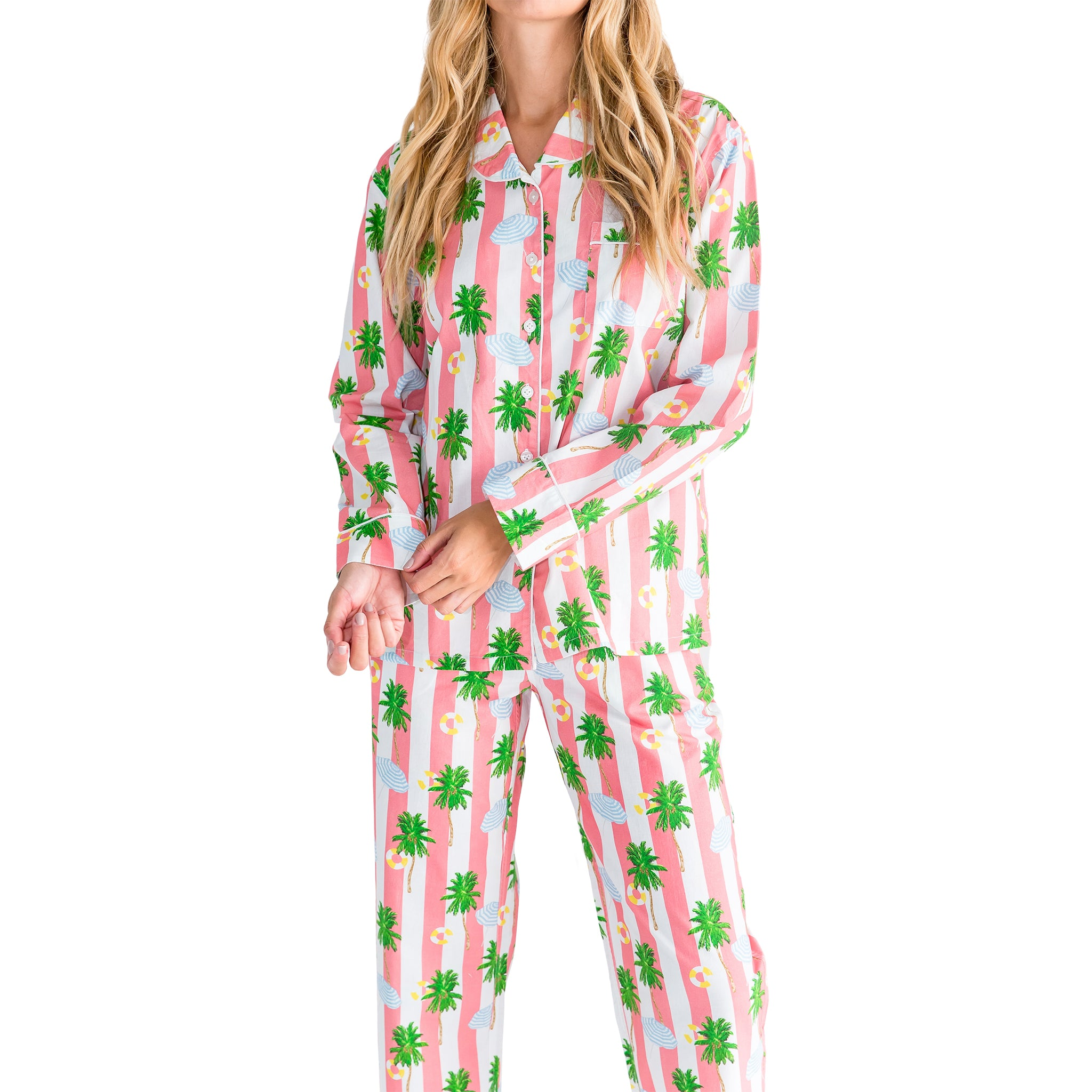 Women's Gray Malin Beach Coral Long PJ Set