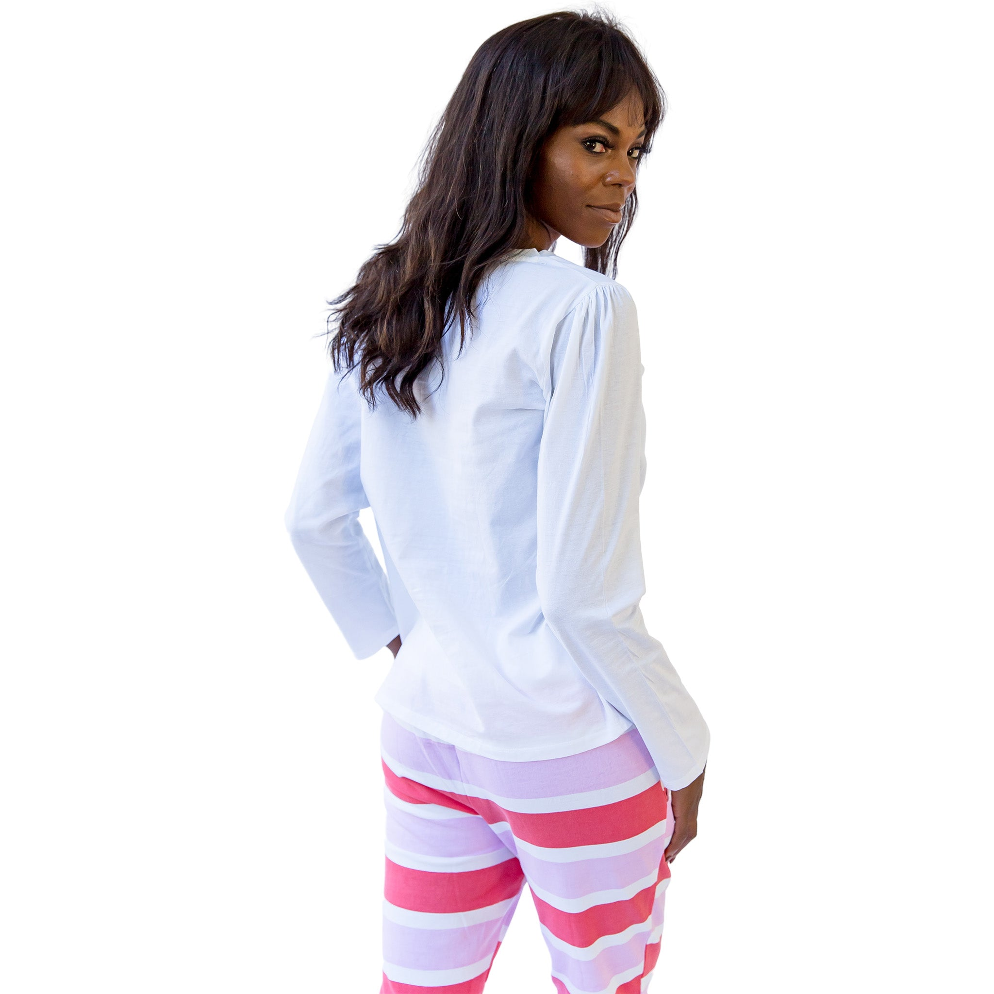Women's White Jersey Long Sleeve Top