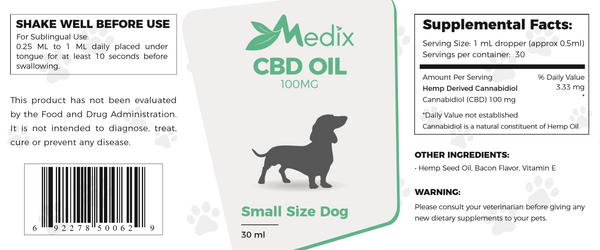 Medix CBD Oil for Small Dogs : Bacon Flavor 100mg