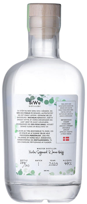SiWu Nordisk Citrus Limited Edition Gin Handcrafted Danish Gin 47%