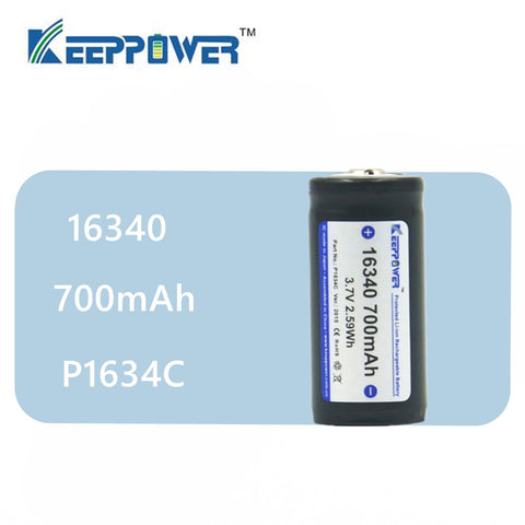 1 pcs KeepPower 16340 700mAh protected li-ion rechargeable battery 3.7V P1634C
