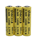 4pcs/ a lot Shockli 14500 battery 3.7V 660mAh Li-ion Rechargeable Battery + Battery Box for Flashlights Headlamps,torch.