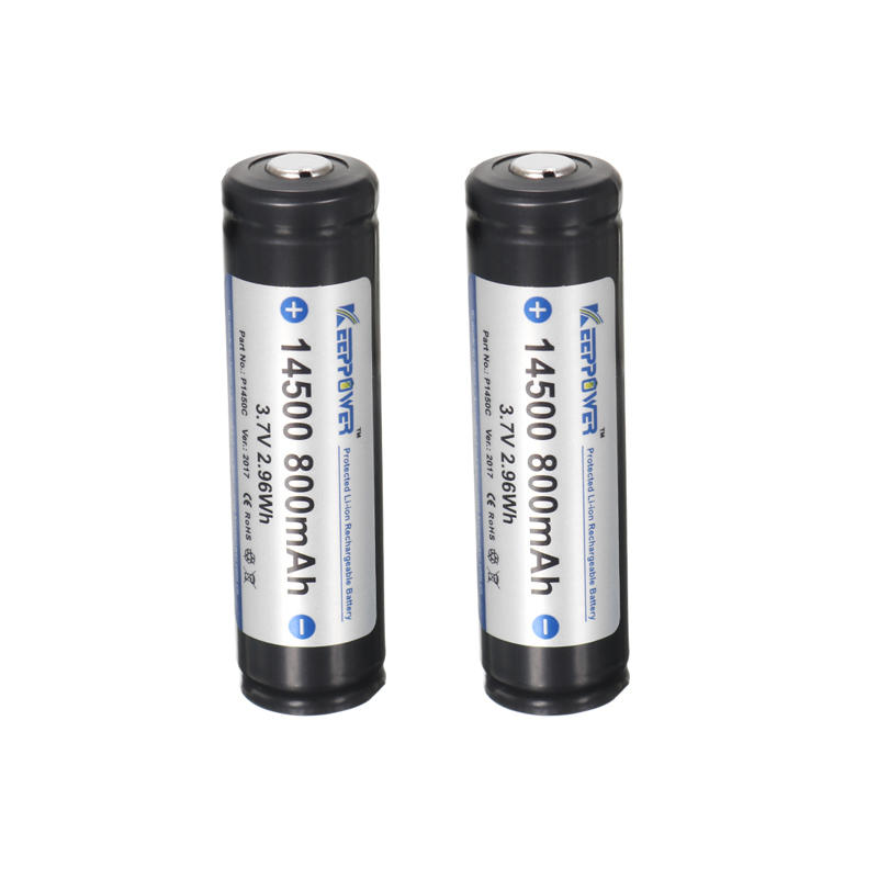 2pcs KeepPower 14500 800mAh Protected Rechargeable Battery