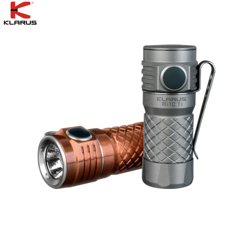 KLARUS Mi1C TI Handheld Flashlight CREE XP-L HI V3 max 600 lumen outdoor torch + 16340 Micro- USB Li-ion rechageable Battery
