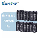 Original 12 pcs KeepPower IMR 18350 battery 750mAh 15A max discharge li-ion high drain battery 3.7V