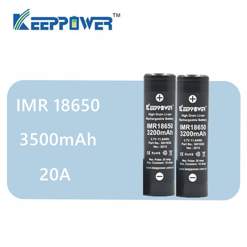 Original 2 Pcs KeepPower IMR 18650 battery 3500mAh 3.7V max 20A discharge high power battery NH1835