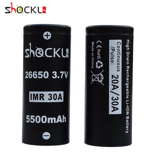 Shockli 26650 5500mAh 3.7V li-ion rechargeable battery 20A 30A for high power flashlights