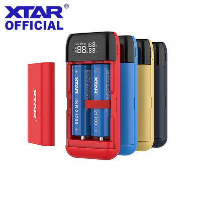 XTAR Power Bank LCD USB Charger QC3.0 Type-C INPUT PB2S For 18700 20700 21700 18650 Battery / ONLY PB2 Battery Charger FOR 18650