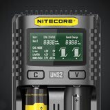 NITECORE UMS2 2 Slots LCD Screen Battery Charger For 26650 18650 21700 16340 18350