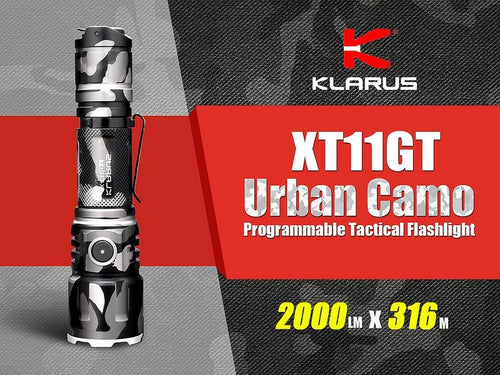 Klarus XT11GT Urban Camo XHP35 HD 2000 Lumen Rechargeable Tactical LED Flashlight