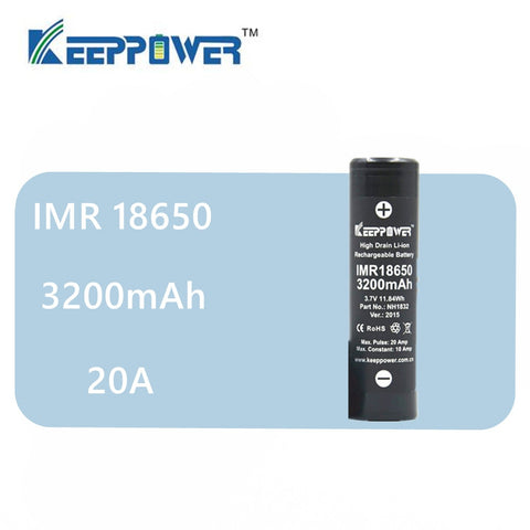 original 1pcs Keeppower IMR 18650 battery 3200mAh 3.7V maximum 20A discharge power cell