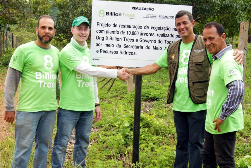 8 Billion Trees Co-founder Jon Chambers with his team in the Amazon