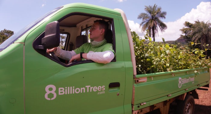 8 Billion Trees Founder Jon Chambers Delivering Trees to a Planting Site in the Amazon Rainforest