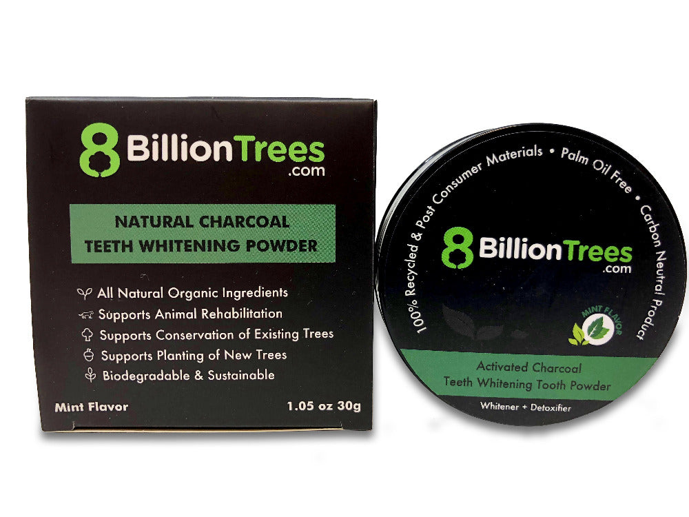 Activated Charcoal tooth powder comes in an eco friendly container, using recycled materials.