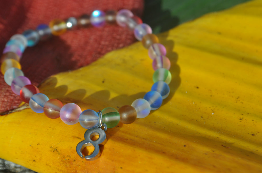Recycled Rainbow Glass Bracelet: Save 100 Trees - Plant 10 Trees - Rescue Animals - Help Families
