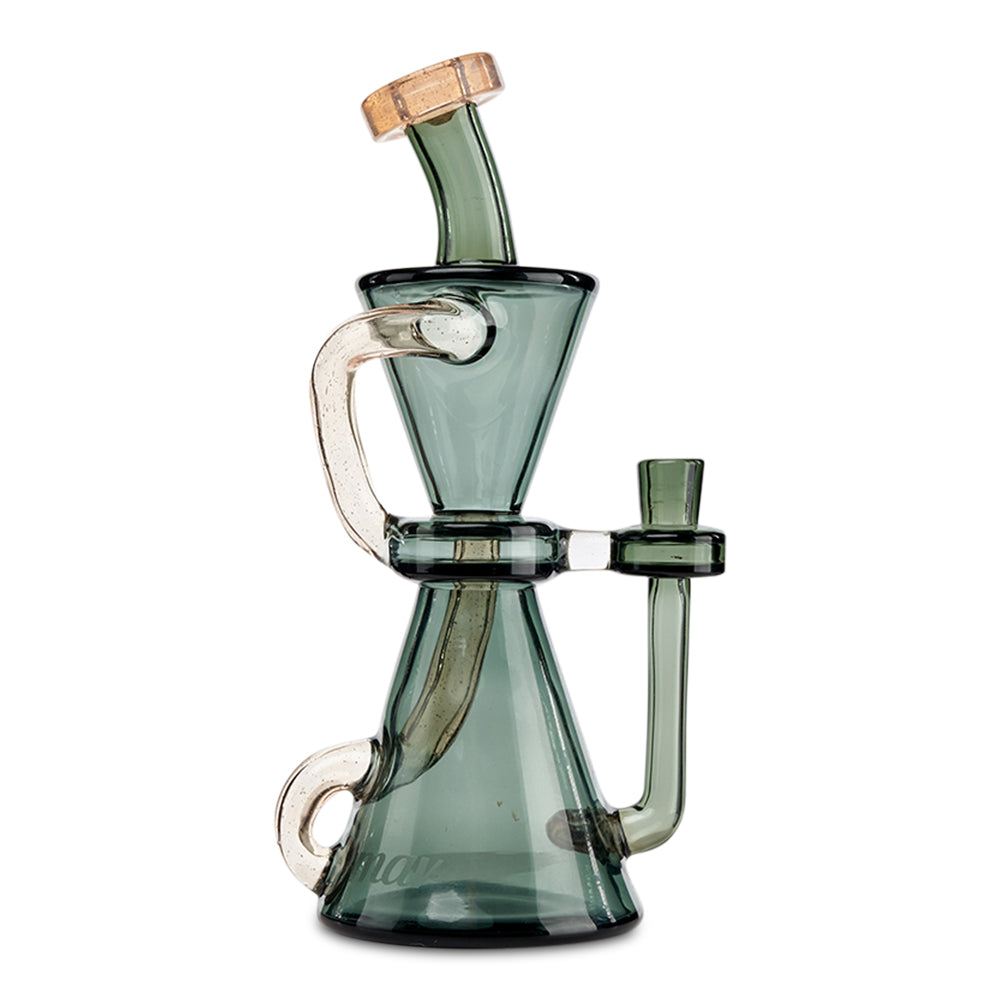 Mav Glass Medium Hourglass Recycler (Smoke) - Cloud9smokeco.com