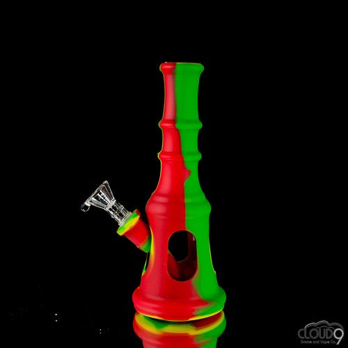 Paradise Bowman Silicone Waterpipe(Rasta) - Cloud9smokeco.com