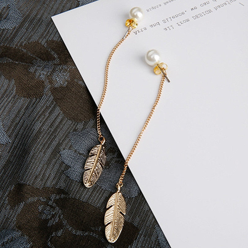 Delicate Leaf Pearl Earrings  Gold