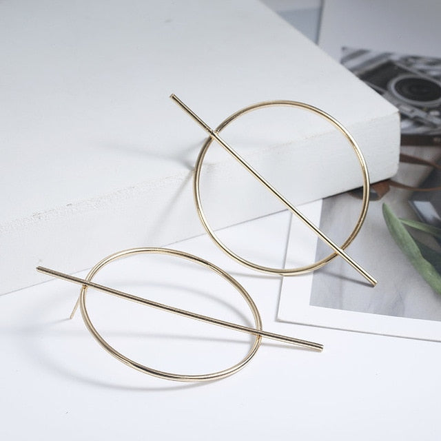 Hoop Bar Earrings Gold
