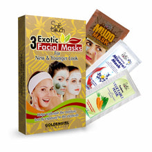 Load image into Gallery viewer, oft Touch 3 Exotic Facial Masks Sachet Kit by Golden Girl Cosmetics.  Mudd Mask cleans, tightens tones with natural rear clay and oriental herbs.   Mineral Mask is rich in organic and mineral components to provide nourishment and treatment to the skin.  Vegetable Mask restores, balances, clarifies and nourishes with carrot & cucumber extracts.