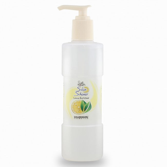 Soft Touch Skin Shiner is a gentle, lemon enriched moisturizing liquid that effectively balances your skin fluids. It leaves your skin soft, smooth and of course glowing.