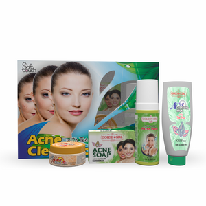 Acne Clear Facial Kit: Tea Tree Series the Ultimate Solution for Acne. Golden Girl Tea Tree Oil products clears acne by releasing dirt from clogged pores and soothing irritated skin using the natural active properties of Tea Tree Oil.  1- Acne Cleaning Milk 2- Foaming Acne Face Wash 3- Acne Mask 4-Acne Soap