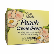 "Load image into Gallery viewer, Golden Girl Peach Creme Bleach makes unwanted hair on face, arms and legs invisible in minutes. The vitamin C rich peach is known worldwide as the ""Queen of fruit"" because of its distinctive flavor and delicate fragrance. It is nature's richest source of antioxidant, vitamin A and phytochemicals that are important to healthy skin. Peach Creme Bleach effectively bleaches excess dark hair while the phytochemicals whiten your skin."