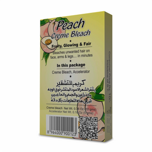"Golden Girl Peach Creme Bleach makes unwanted hair on face, arms and legs invisible in minutes. The vitamin C rich peach is known worldwide as the ""Queen of fruit"" because of its distinctive flavor and delicate fragrance. It is nature's richest source of antioxidant, vitamin A and phytochemicals that are important to healthy skin. Peach Creme Bleach effectively bleaches excess dark hair while the phytochemicals whiten your skin."