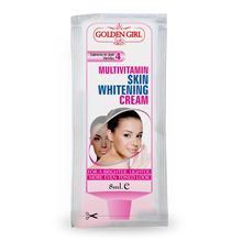 Load image into Gallery viewer, Multi-Vitamin Skin Whitening Sachet: Unique formula, produces triple action. Attenuates melanin production (pigmentation) Protects against UV rays (SPF-15) Nourishes skin with multi vitamins and natural oils. Natural product which reduces age spots, freckles, unevenness of color and discoloration of the skin. Reduces MELASMA that occurs from exposure to sun. pregnancy or oral contraceptive. Prevents new progress of darkening. Safe and effective, a natural alternative to chemical products.