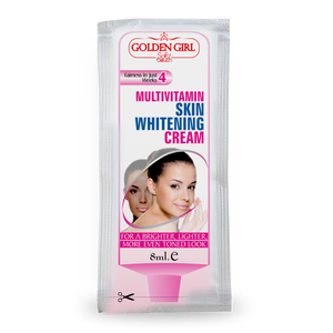 Multi-Vitamin Skin Whitening Sachet: Unique formula, produces triple action. Attenuates melanin production (pigmentation) Protects against UV rays (SPF-15) Nourishes skin with multi vitamins and natural oils. Natural product which reduces age spots, freckles, unevenness of color and discoloration of the skin. Reduces MELASMA that occurs from exposure to sun. pregnancy or oral contraceptive. Prevents new progress of darkening. Safe and effective, a natural alternative to chemical products.