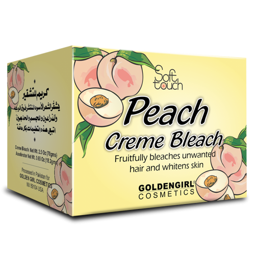 Golden Girl Peach Creme Bleach makes unwanted hair on face, arms and legs invisible in minutes. The vitamin C rich peach is known worldwide as the