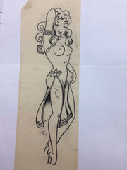 "Sailor Jerry ORIGINAL PIN-UP GIRL Drawing 14"" tall"