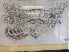 Original Sailor Jerry Drawing: Dragon Chestpiece w/Mt. Fuji