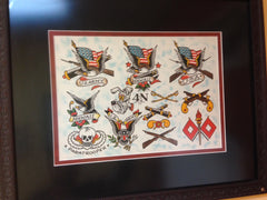Authentic Sailor Jerry Original Painted Flash Page - FLAGS & Eagle page