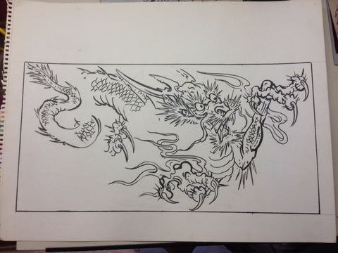 Original Mike Malone Pencil & Ink illustration: 2-sided Dragons