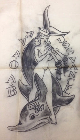 Original Sailor Jerry Drawing: Jerry Girl & Dophin
