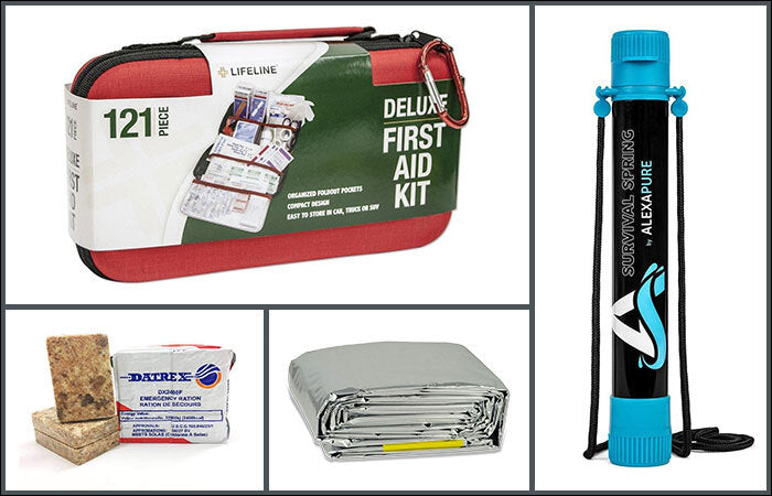 first aid kit, water filter, datrex bars, and mylarblanket
