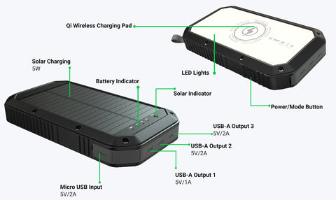 wireless lit solar charger powerbank camping survival