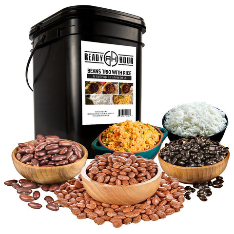 Ready Hour Beans Trio With Rice Kit  (100 servings, 14 pk.) - Camping Survival